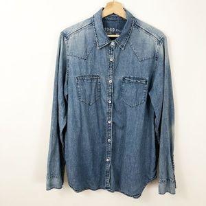GAP Chambray Denim Cowgirl Button Down Shirt XL